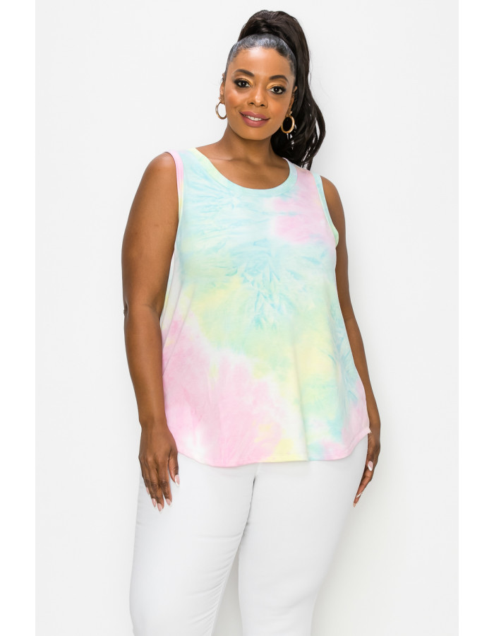 TIE DYE FRENCH TERRY SIDE SLIT TANK CURVE