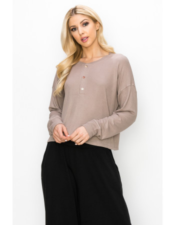 THERMAL LONG SLEEVE CROPPED HENLEY