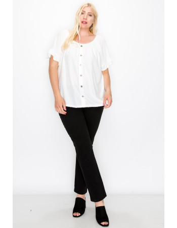 SWISS DOT JERSEY BUTTON FRONT RUFFLE SLEEVE PEASANT CURVE