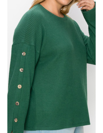 BRUSHED WAFFLE CREW BUTTON SLEEVE CURVE
