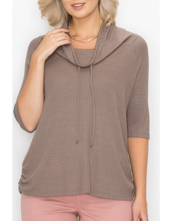 BABY THERMAL COWL NECK SIDE RUCHED 3Q SLEEVE