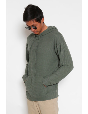 BRUSHED WAFFLE PULLOVER HOODIE