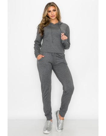 FRENCH TERRY CROPPED HOODIE & JOGGER SET ( WEB EXCLUSIVE - LIMITED STOCK)