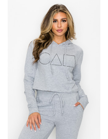 FRENCH TERRY SYMBOLS EMBROIDERED CROPPED HOODIE & JOGGER SET ( WEB EXCLUSIVE - LIMITED STOCK)