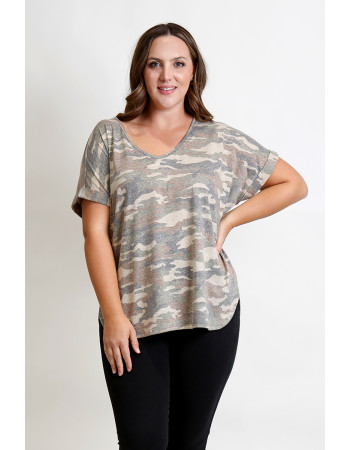 CAMO Q-BLEND V NECK ROLLED SLEEVE CURVE