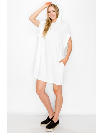 FRENCH TERRY HOODIE TUNIC DRESS - WHITE